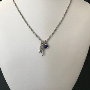 Lia Sophia - Silver Cross & Cat's Eye Necklace
